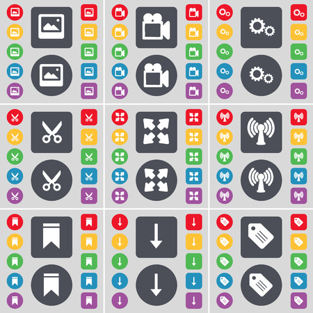 full screen: Window, Film camera, Gear, Scissors, Full screen, Wi-Fi, Marker, Arrow down, Tag icon symbol. A large set of flat, colored buttons for your design. illustration