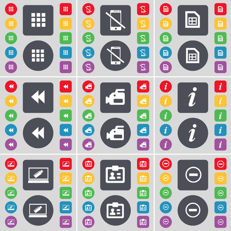 smartphone apps: Apps, Smartphone, File, Rewind, Film camera, Information, Laptop, Contact, Minus icon symbol. A large set of flat, colored buttons for your design. illustration Stock Photo