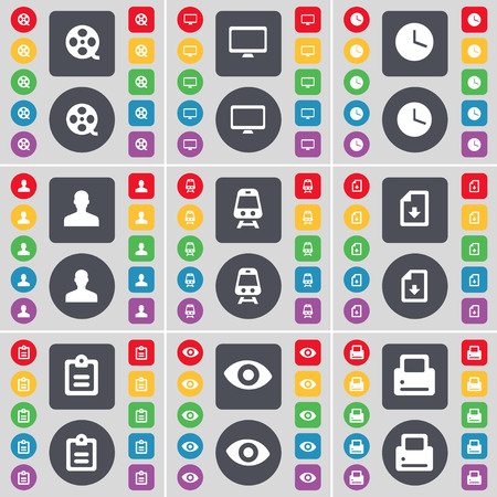 videotape: Videotape, Monitor, Clock, Avatar, Train, File, Survey, Vision, Printer icon symbol. A large set of flat, colored buttons for your design. illustration