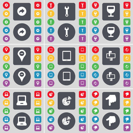 tablet pc in hand: Back, Wrench, Wineglass, Checkpoint, Tablet PC, Mailbox, Laptop, Pizza, Hand icon symbol. A large set of flat, colored buttons for your design. illustration