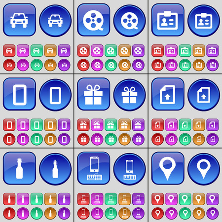checkpoint: Car, Videotape, Contact, Zero, Gift, File, Bottle, Smartphone, Checkpoint. A large set of multi-colored buttons. illustration Stock Photo