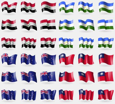 new zeland: Iraq, Bashkortostan, New Zeland, Taiwan. Set of 36 flags of the countries of the world. illustration