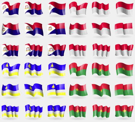 saint martin: Saint Martin, Monaco, Buryatia, Burkia Faso. Set of 36 flags of the countries of the world. illustration
