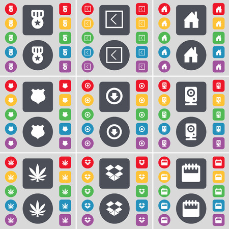 dropbox: Medal, Arrow left, House, Police badge, Arrow, Speaker, Marijuana, Dropbox, Calendar icon symbol. A large set of flat, colored buttons for your design. illustration