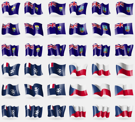 helena: Saint Helena, Montserrat, French and Antarctic, Czech Republic. Set of 36 flags of the countries of the world. illustration
