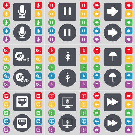 lan: Microphone, Pause, Arrow right, DVD, Silhouette, Umbrella, LAN socket, Monitor, Rewind icon symbol. A large set of flat, colored buttons for your design. illustration Stock Photo