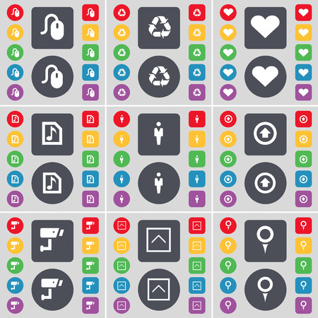 arrow up: Mouse, Recycling, Heart, Music file, Silhouette, Arrow up, CCTV, Arrow up, Checkpoint icon symbol. A large set of flat, colored buttons for your design. illustration Stock Photo