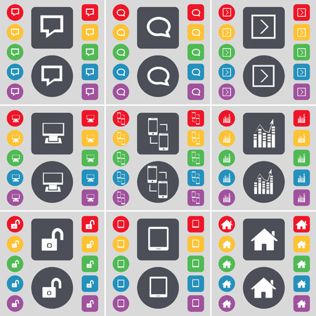 house exchange: Chat bubble, Arrow right, Monitor, Information exchange, Graph, Lock, Tablet PC, House icon symbol. A large set of flat, colored buttons for your design. illustration