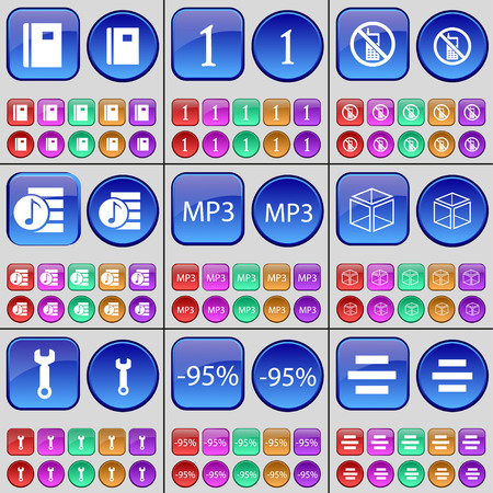 playlist: Notebook, One, Mobile phone, Playlist, MP3, Cube, Wrench, Discount, List. A large set of multi-colored buttons. illustration