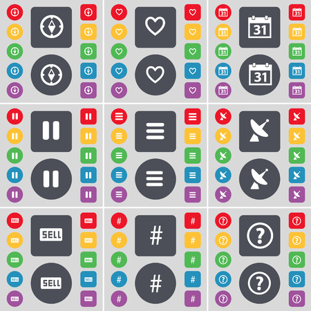 satellite dish: Compass, Heart, Calendar, Pause, Apps, Satellite dish, Sell, Hashtag, Question mark icon symbol. A large set of flat, colored buttons for your design. illustration Stock Photo