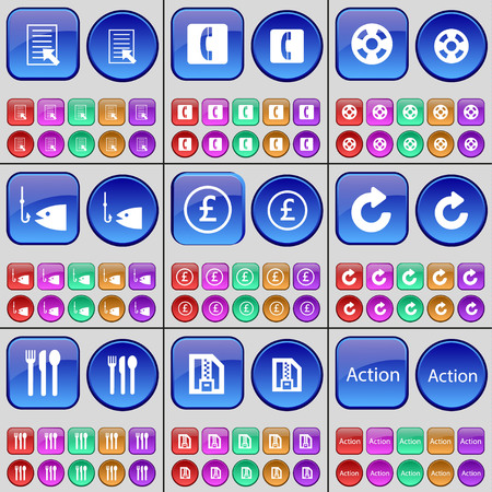 videotape: Text file, Receiver, Videotape, Fishing, Pounds, Reload, Cutlery, ZIP file, Action. A large set of multi-colored buttons. illustration