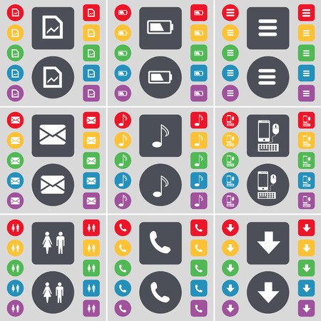 smartphone apps: Graph file, Battery, Apps, Message, Note, Smartphone, Silhouette, Receiver, Arrow down icon symbol. A large set of flat, colored buttons for your design. illustration