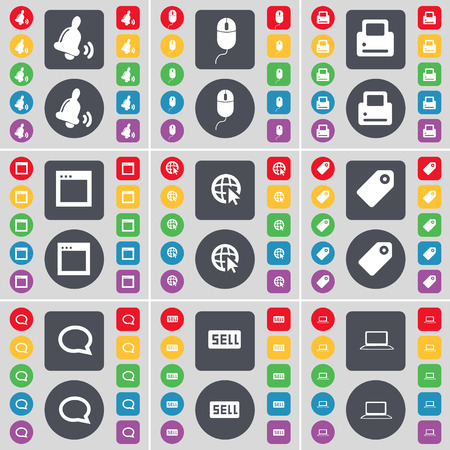 chat window: Bell, Mouse, Printer, Window, Web cursor, Tag, Chat bubble, Sell, Laptop icon symbol. A large set of flat, colored buttons for your design. illustration