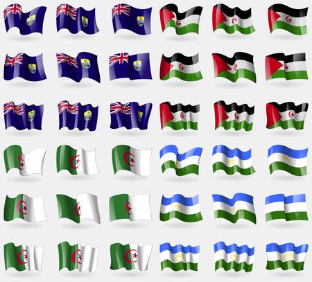 helena: Saint Helena, Western Sahara, Algeria, Bashkortostan. Set of 36 flags of the countries of the world. illustration