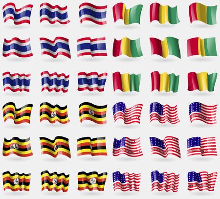atoll: Thailand, Guinea, Uganda, Bikini Atoll. Set of 36 flags of the countries of the world. illustration Stock Photo