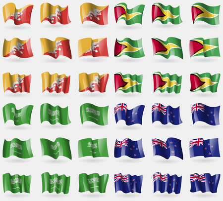new zeland: Bhutan, Guyana, Saudi Arabia, New Zeland. Set of 36 flags of the countries of the world. illustration Stock Photo