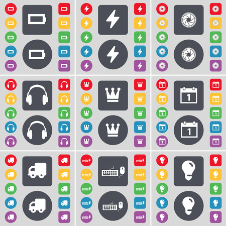 crown of light: Battery, Flash, Lens, Headphones, Crown, Calendar, Truck, Keyboard, Light bulb icon symbol. A large set of flat, colored buttons for your design. illustration