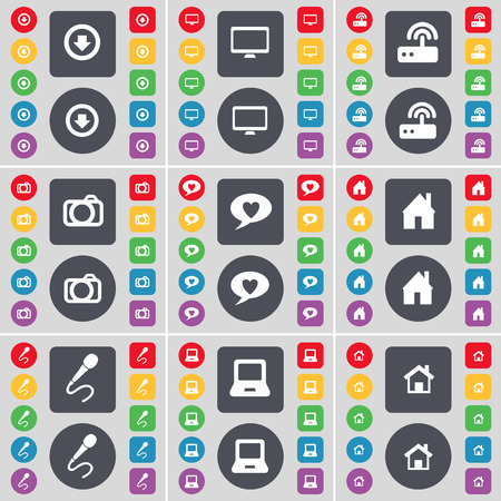 arrow down: Arrow down, Monitor, Router, Camera, Chat bubble, House, Microphone, Laptop icon symbol. A large set of flat, colored buttons for your design. illustration Stock Photo