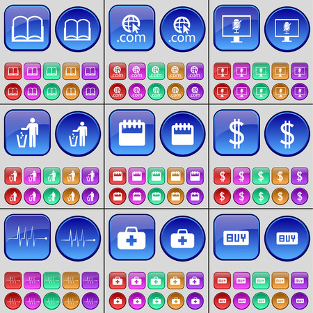 firstaid: Book, Domain, Monitor, Silhouette, Calendar, Dollar, Pulse, First-aid kit, Buy. A large set of multi-colored buttons. illustration