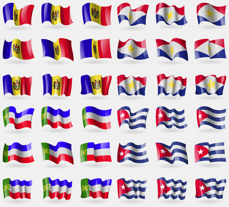 saba: Moldova, Saba, Khakassia, Cuba. Set of 36 flags of the countries of the world. illustration