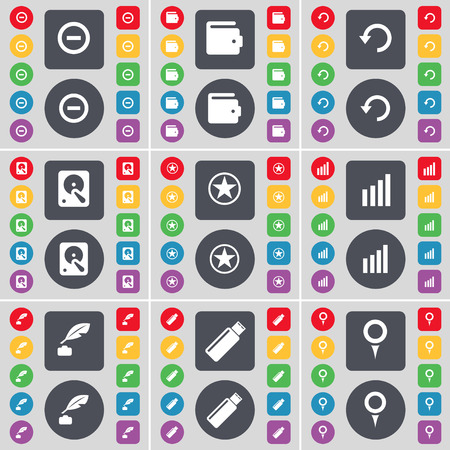 inkpot: Minus, Wallet, Reload, Hard drive, Star, Diagram, Inkpot, USB, Checkpoint icon symbol. A large set of flat, colored buttons for your design. illustration