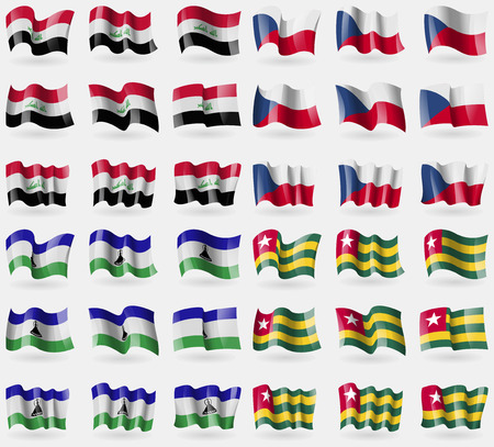 czech culture: Iraq, Czech Republic, Lesothe, Togo. Set of 36 flags of the countries of the world. illustration