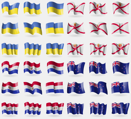new zeland: Ukraine, Jersey, Paraguay, New Zeland. Set of 36 flags of the countries of the world. illustration Stock Photo