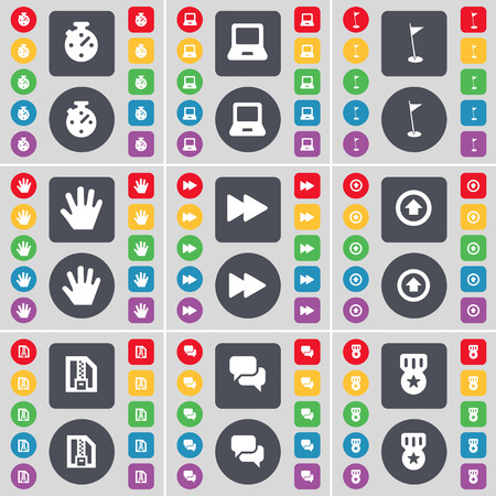 chat up: Stop, Laptop, Golf hole, Hand, Rewind, Arrow up, ZIP file, Chat, Medal icon symbol. A large set of flat, colored buttons for your design. illustration