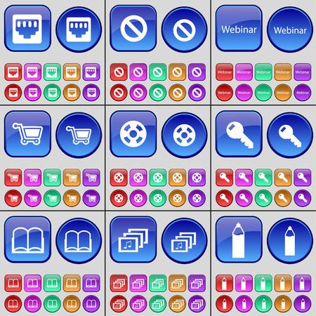lan: LAN socket, Stop, Webinar, Shopping bag, Videotape, Key, Book, Gallery, Pencil. A large set of multi-colored buttons. illustration Stock Photo
