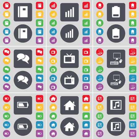 chat window: Notebook, Diagram, Battery, Chat bubble, Retro TV, PC, Battery, House, Music window icon symbol. A large set of flat, colored buttons for your design. illustration Stock Photo