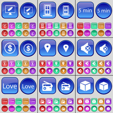 Monitor, Door, 5 minutes, Dollar, Checkpoint, Mute, Love, Radio, Cube. A large set of multi-colored buttons. illustration Stock Photo