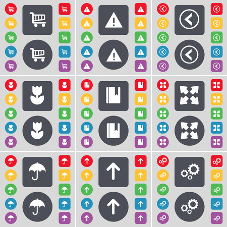 full screen: Shopping cart, Warning, Arrow left, Flower, Dictionary, Full screen, Umbrella, Arrow up, Gears icon symbol. A large set of flat, colored buttons for your design. illustration