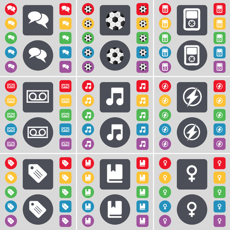 venus symbol: Chat, Ball, Player, Cassette, Note, Flash, Tag, Dictionary, Venus symbol icon symbol. A large set of flat, colored buttons for your design. illustration