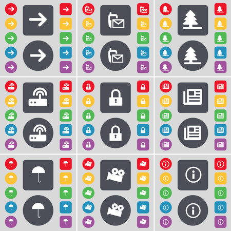 firtree: Arrow right, SMS, Firtree, Router, Lock, Newspaper, Umbrella, Film camera, Information icon symbol. A large set of flat, colored buttons for your design. illustration Stock Photo