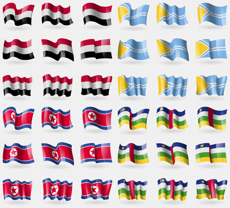 republic of korea: Yemen, Tuva, Korea North, Central African Republic. Set of 36 flags of the countries of the world. illustration