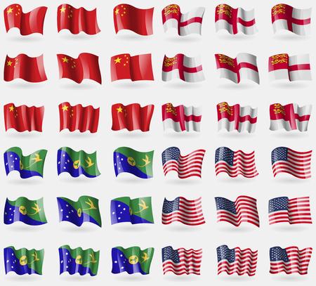 sark: China, Sark, Christmas Island, USA. Set of 36 flags of the countries of the world. illustration