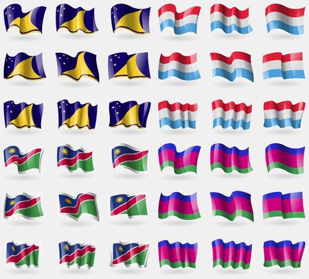 kuban: Tokelau, Luxembourg, Namibia, Kuban Republic. Set of 36 flags of the countries of the world. illustration