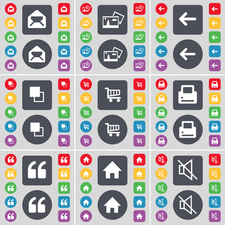 mute: Message, Picture, Arrow left, Printer, Quotation mark, House, Mute icon symbol. A large set of flat, colored buttons for your design. illustration