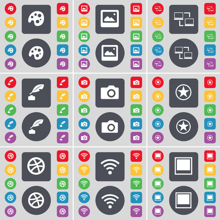 ink pot: Palette, Media window, Connection, Ink pot, Camera, Star, Ball, Wi-Fi, Window icon symbol. A large set of flat, colored buttons for your design. illustration Stock Photo