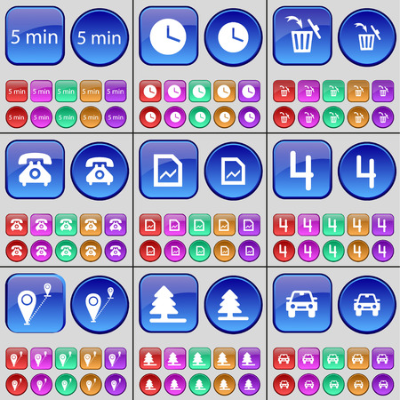 checkpoint: 5 minutes, Clock, Trash can, Retro phone, Graph, Four, Checkpoint, Fir tree, Car. A large set of multi-colored buttons. illustration Stock Photo