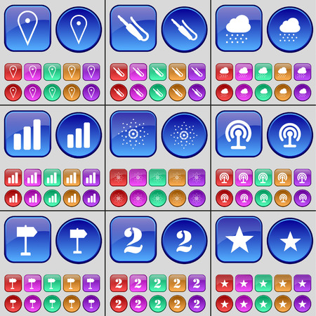 checkpoint: Checkpoint, Microphone connector, Cloud, Diagram, Star, Wi-Fi, Sign, Two. A large set of multi-colored buttons. illustration Stock Photo