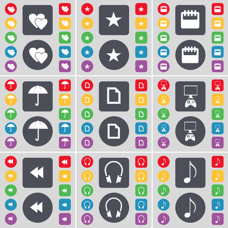 game console: Heart, Star, Calendar, Umbrella, File, Game console, Rewind, Headphones, Note icon symbol. A large set of flat, colored buttons for your design. illustration