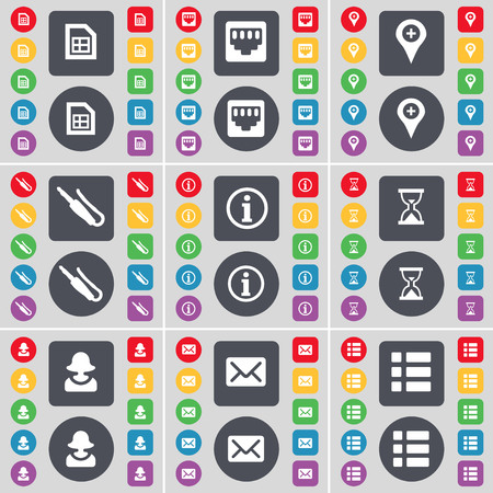lan: File, LAN socket, Checkpoint, Microphone connector, Information, Hourglass, Avatar, Message, List icon symbol. A large set of flat, colored buttons for your design. illustration