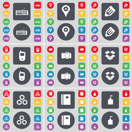 dropbox: Keyboard, Checkpoint, Pencil, Mobile phone, Camera, Dropbox, Gears, Notebook, Flag tower icon symbol. A large set of flat, colored buttons for your design. illustration