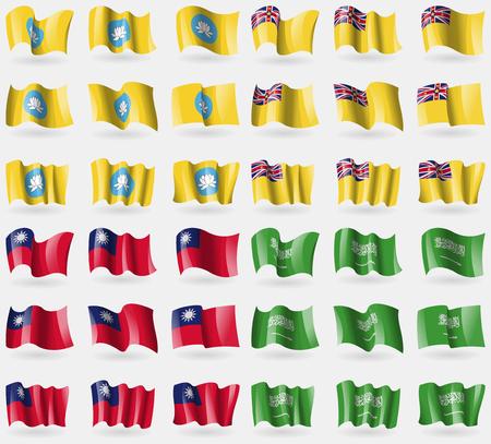 niue: Kalmyikia, Niue, Taiwan, Saudi Arabia. Set of 36 flags of the countries of the world. illustration