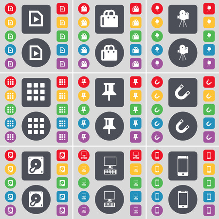 smartphone apps: File, Shopping bag, Film camera, Apps, Pin, Magnet, Hard drive, PC, Smartphone icon symbol. A large set of flat, colored buttons for your design. illustration