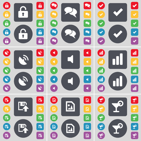 satellite dish: Lock, Chat, Tick, Satellite dish, Sound, Diagram, Floppy, Media file, Cocktail icon symbol. A large set of flat, colored buttons for your design. illustration