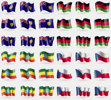 the turks: Turks and Caicos, Malawi, Ethiopia. Set of 36 flags of the countries of the world. illustration
