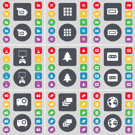 game console: Film camera, Apps, Battery, Game console, Firtree, Cassette, Projector, Gallery, Earth icon symbol. A large set of flat, colored buttons for your design. illustration