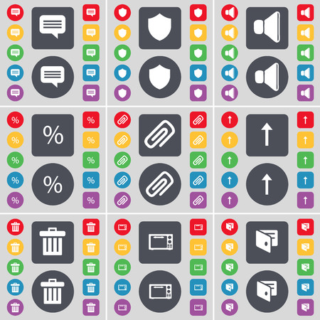 chat up: Chat bubble, Badge, Sound, Percent, Clip, Arrow up, Trash can, Microwave, Wallet icon symbol. A large set of flat, colored buttons for your design. illustration Stock Photo